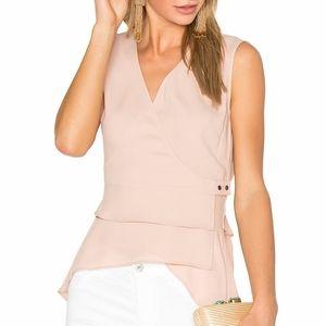 BCBGMaxAzria Eleni Crepe Wrap Top Blush XS